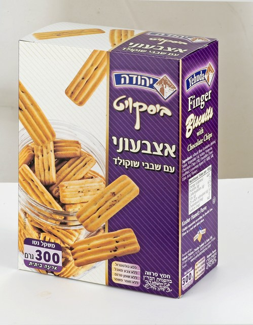 Finger Biscuits with chocolate chips. Under the supervision of the Jerusalem Chief Rabbinate and the Orthodox Jerusalem Community Badatz.